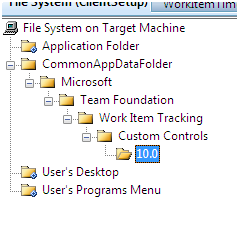 Folder hierarchy created in the setup project