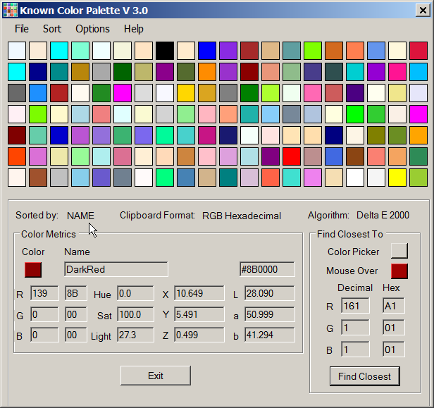 Known Colors Palette