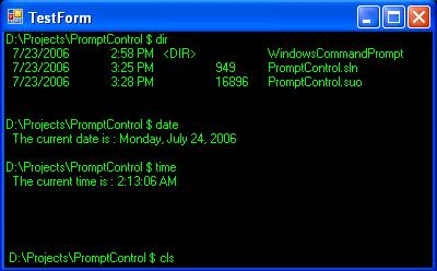 A linux style command prompt