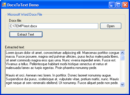 DocxToText demo application