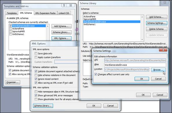 Figure 12 – Dialogs (from left to right) that visualy show path to Browse... option