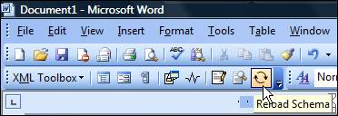 Figure 13 - XML Toolbox in Word 2003, with Reload Schema option
