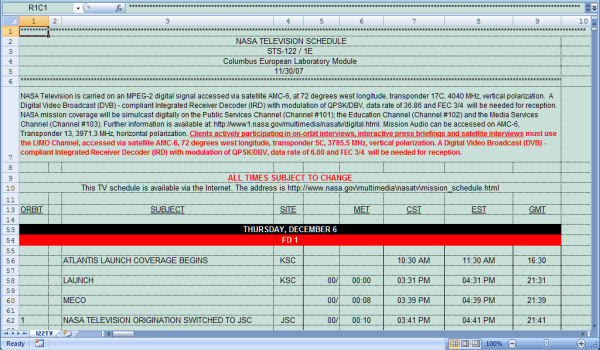 NASA Space Shuttle TV Schedule Transfer to Outlook ...
