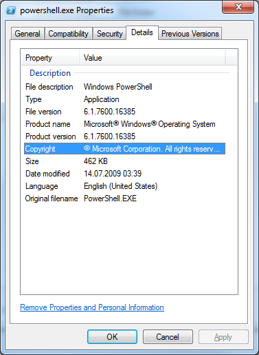 PowerShell 2.0 Property Details