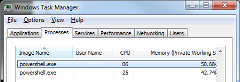 PowerShell in the task manager