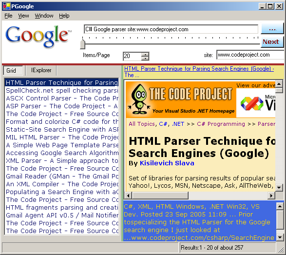 PGoogle in action, searching for Google Parsers in CodeProject