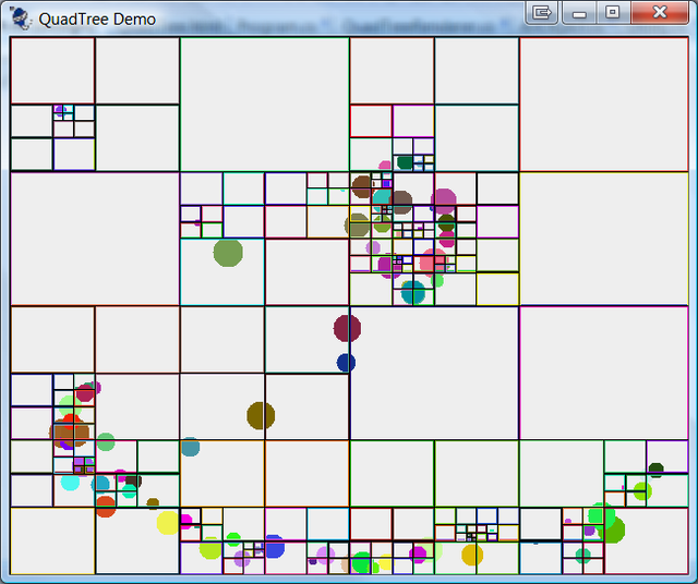Items in a QuadTree with nodes in random colours