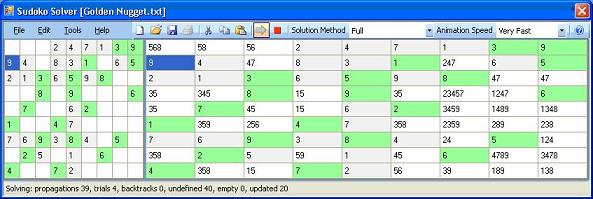 Screen shot of Sudoku solver