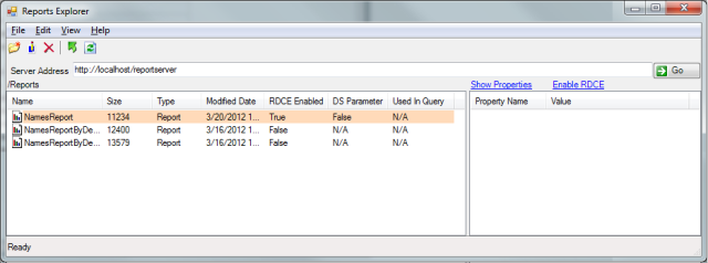 Enabling RDCE on a report from the RSExplorer++ tool