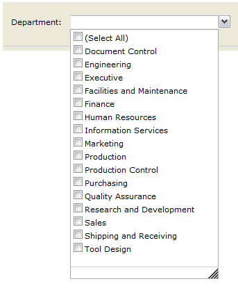 Names Report by Department from the RSExplorer++ tool (parameter) pointing to PRODUCTION
