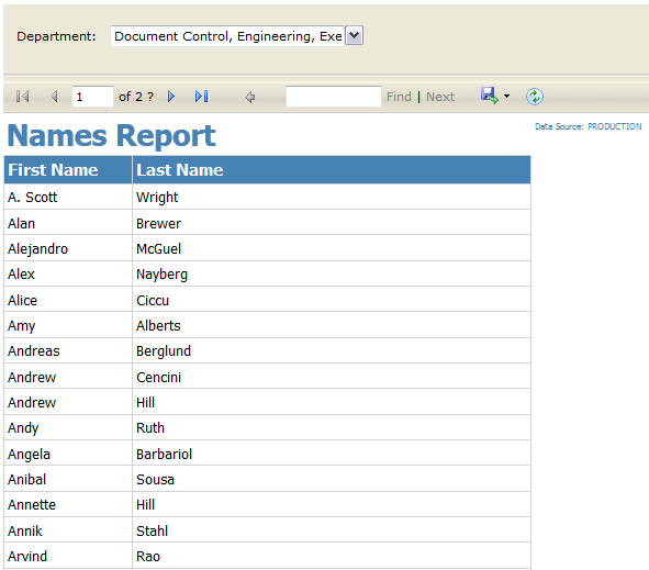 Names Report by Department from the RSExplorer++ tool (report) pointing to PRODUCTION