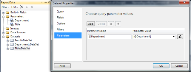 Names Report by Department and Title Report Data with dependency to the Department parameter