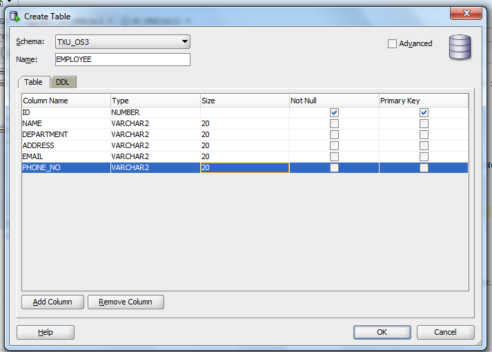 Creating report using report builder and oracle db part for Table design oracle