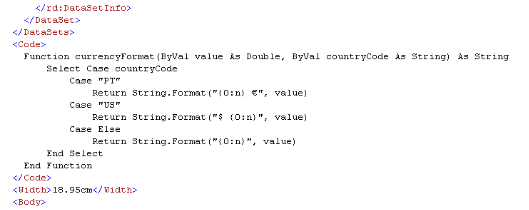 How to write custom code in rdlc