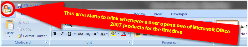 Figure 2. Microsoft Office 2007 products' blinking logos try to capture user attention.