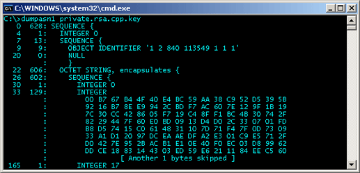 Partial Private Key dump using dumpasn1