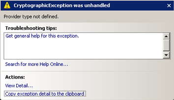 CryptographicException: 'Provider type not defined'