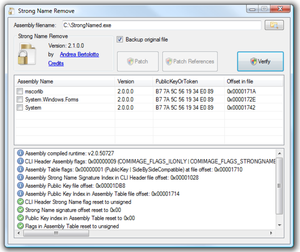 StrongNameRemove21 application screenshot