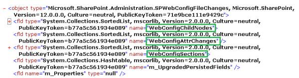 XML copied from SQL query, saved to text file, displayed in Internet Explorer, collapsed to 'fld' elements, showing names 'WebConfigChildNodes', 'WebConfigAttrChanges', 'WebConfigSections'