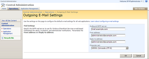 Configuring Outgoing E-mail Settings for SharePoint