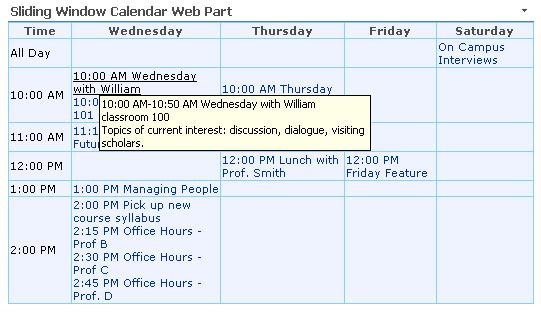 screenshot of Sliding Window Calendar Web Part
