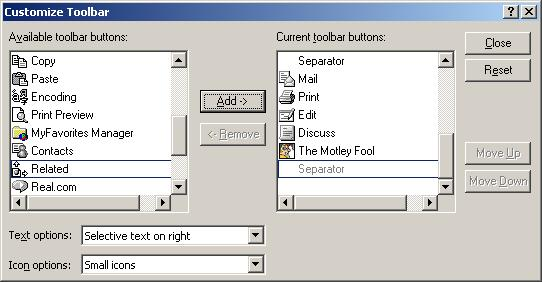 Figure 13. Customize Toolbar - Current Toolbar Buttons.