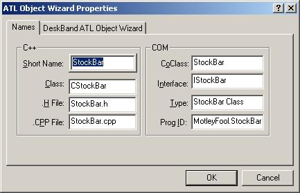 Figure 4. ATL Object Wizard Properties - Names.