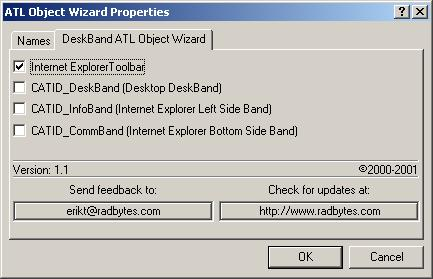 Figure 5. ATL Object Wizard Properties - DeskBand ATL Object Wizard.