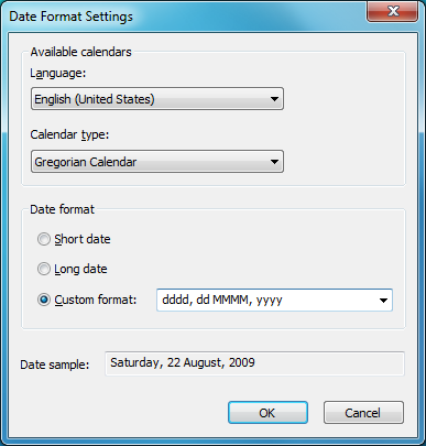 date icon. Date string format window: