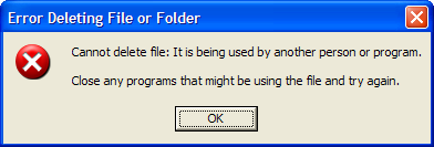Error - file is in use