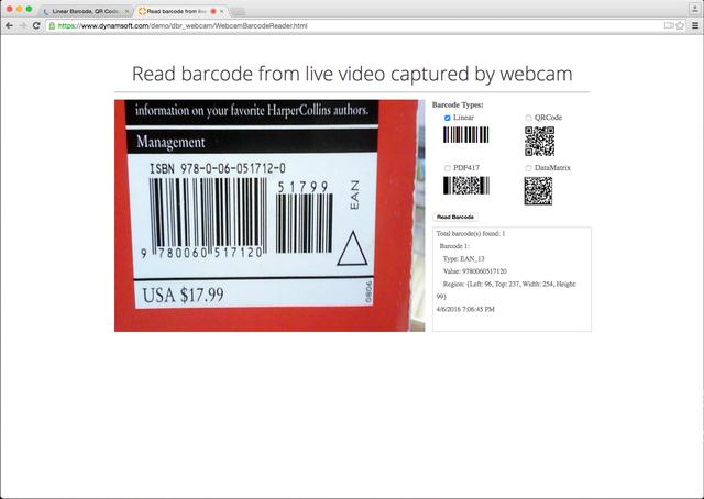 bar code scan html5