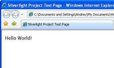 Hello World Silverlight application