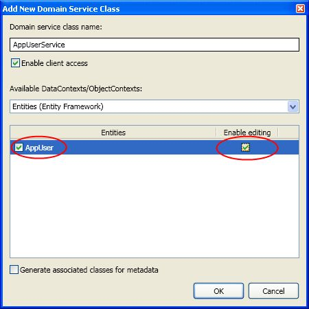 This dialog allows to set properties for adding domain service classes
