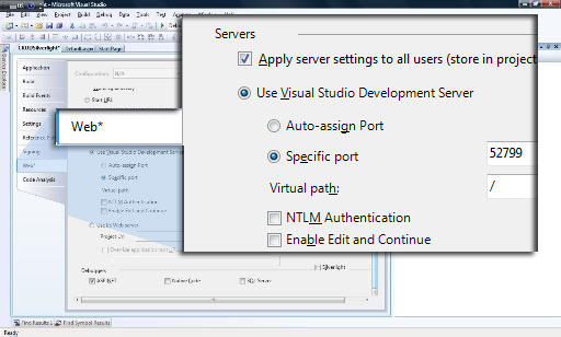 Change the auto-assign port to specific port of your web application