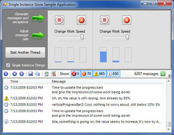 Sample application running with two threads logging as fast as possible.