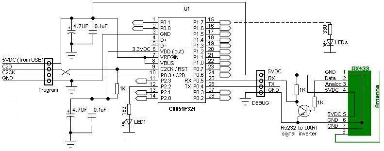 remote control based on c8051 with 433mhz radio modules