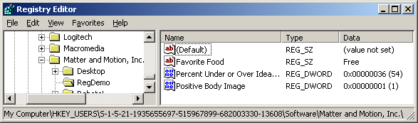 Screenshot of RegEdit