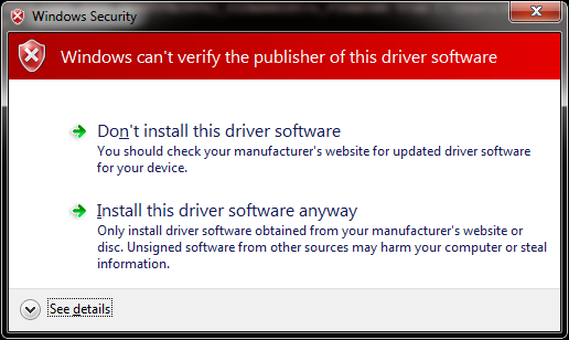 Install unsigned driver..