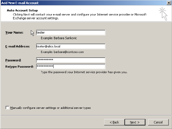 Configure not default account in Outlook