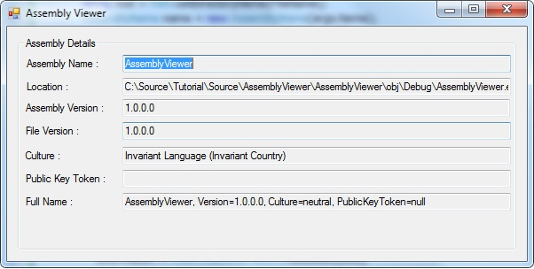 Screen shot of the assembly viewer with data