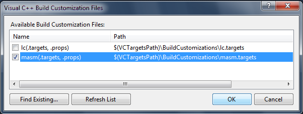 How to write assembly language program in visual studio