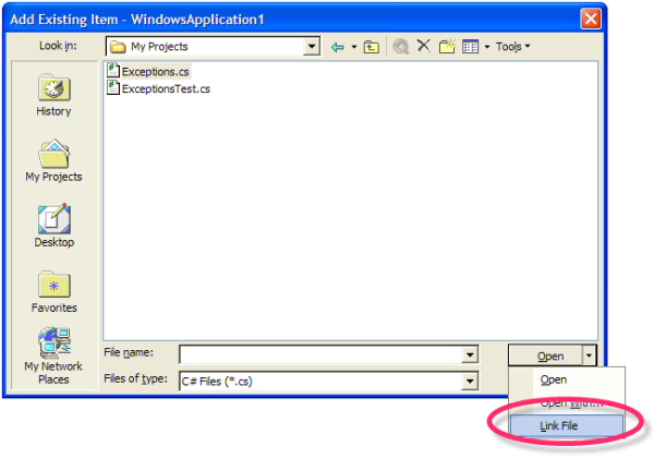 linking to a single copy of Exceptions.cs in Visual Studio