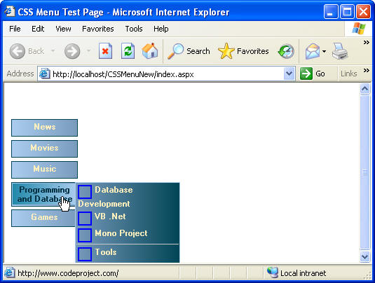Sample Image of very compatible DHTML menu