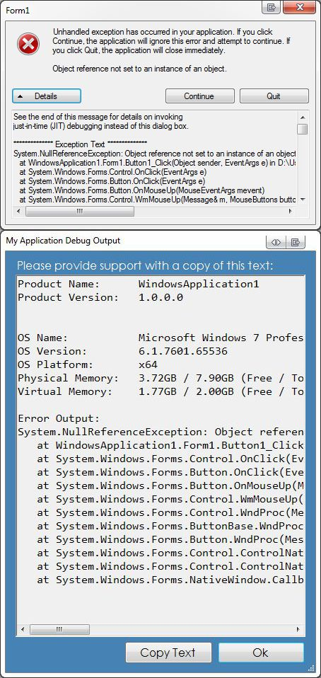 .Net Unhandled Exception Screenshot
