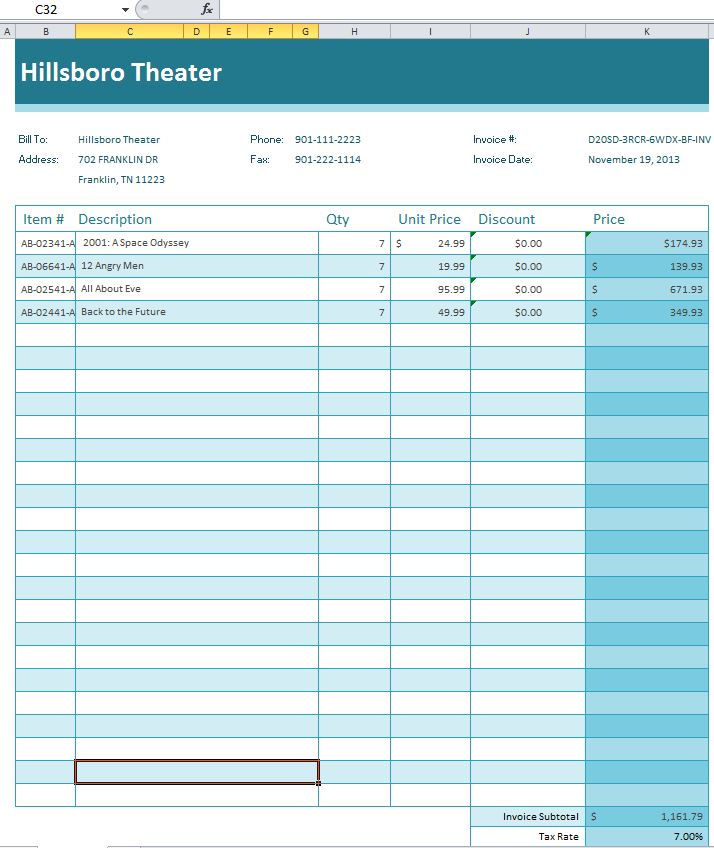 Free Invoice Template for Excel  Vertex42com