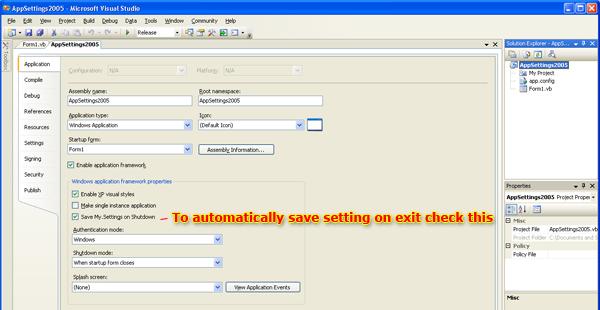 حفظ واسترداد إعدادات التطبيق والمستخدم في VB.NET  AppSettings2005_save