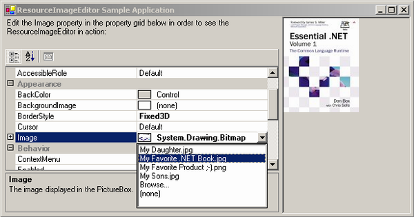 The dropped-down ResourceImageEditor.