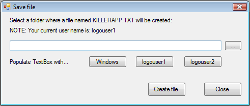 Killer Application save file dialog