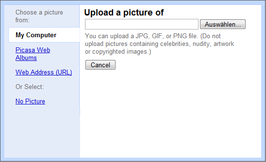 The Google image uploader