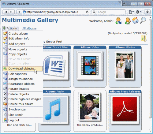 Screen shot of Gallery Server Pro